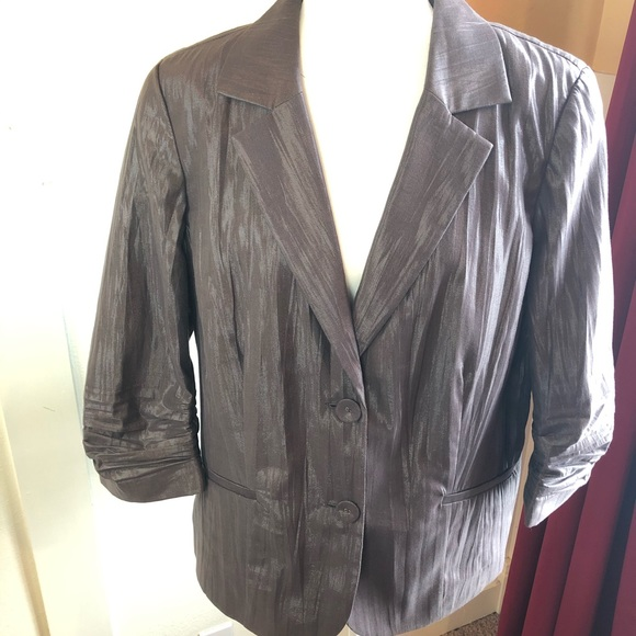 Chico's Jackets & Blazers - Chico's blazer Sz 3 gray shimmery 2 button closure
